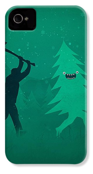 Funny Cartoon Christmas Tree Is Chased By Lumberjack Run Forrest Run IPhone 4 Case