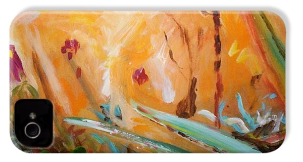 IPhone 4 Case featuring the painting Garden Moment by Winsome Gunning
