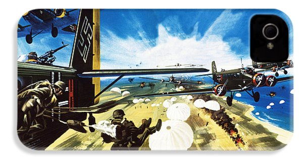 German Paratroopers Landing On Crete During World War Two IPhone 4 / 4s Case by Wilf Hardy