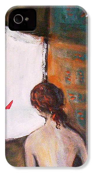 IPhone 4 Case featuring the painting Girl At The Window by Winsome Gunning