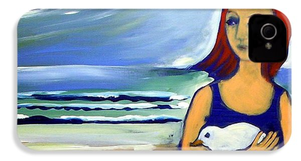 IPhone 4 Case featuring the painting Girl With Bird by Winsome Gunning