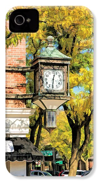 IPhone 4 Case featuring the painting Glen Ellyn Corner Clock by Christopher Arndt