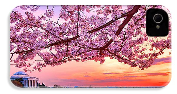 Glorious Sunset Over Cherry Tree At The Jefferson Memorial  IPhone 4 Case by Olivier Le Queinec