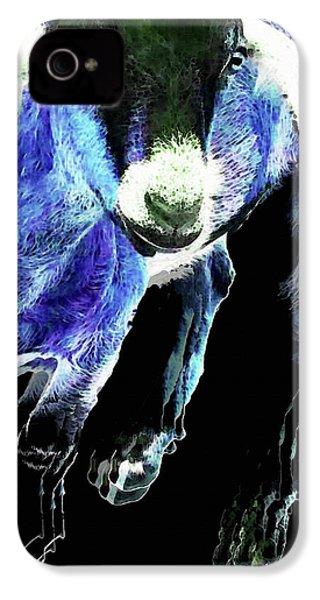 Goat Pop Art - Blue - Sharon Cummings IPhone 4 Case by Sharon Cummings