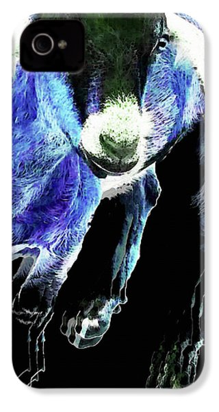 Goat Pop Art - Blue - Sharon Cummings IPhone 4 / 4s Case by Sharon Cummings