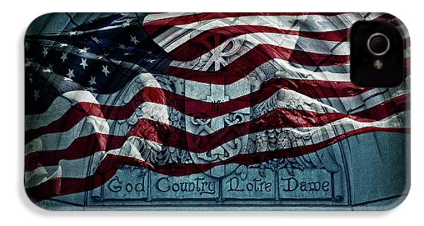 God Country Notre Dame American Flag IPhone 4 Case by John Stephens