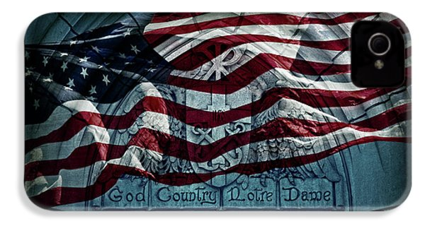 God Country Notre Dame American Flag IPhone 4 / 4s Case by John Stephens