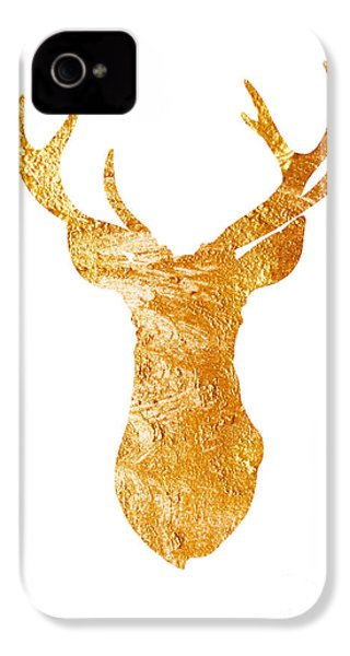 Gold Deer Silhouette Watercolor Art Print IPhone 4 Case by Joanna Szmerdt