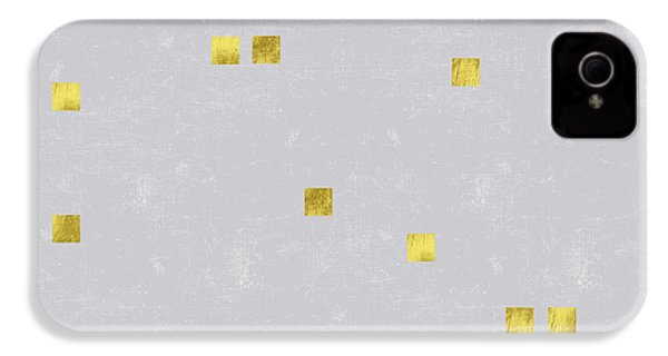 Gold Scattered Square Confetti Pattern On Grey Linen Texture IPhone 4 / 4s Case by Tina Lavoie