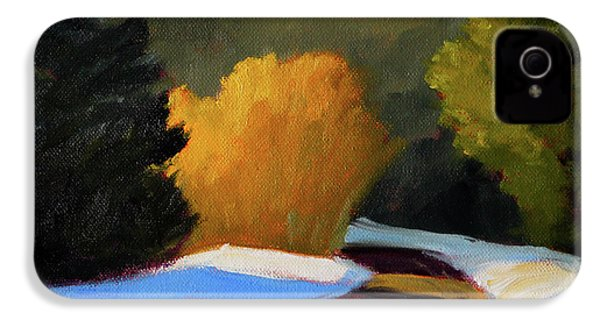 IPhone 4 Case featuring the painting Golden Light Winter Road by Nancy Merkle