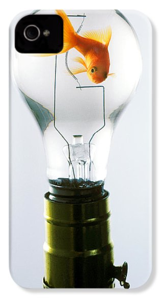 Goldfish In Light Bulb  IPhone 4 Case by Garry Gay