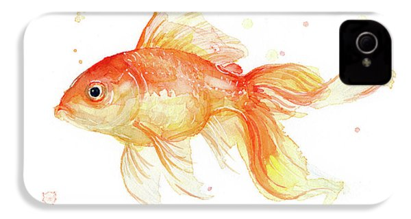 Goldfish Painting Watercolor IPhone 4 / 4s Case by Olga Shvartsur