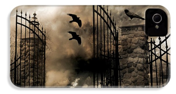 Gothic Surreal Fantasy Ravens Gated Fence  IPhone 4 Case by Kathy Fornal