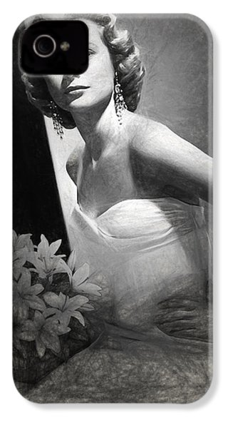 Grace Kelly Drawing IPhone 4 Case by Quim Abella
