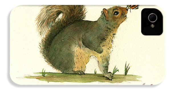 Gray Squirrel Butterfly IPhone 4 Case by Juan Bosco