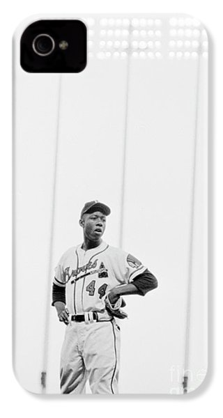 Hank Aaron On The Field, 1958 IPhone 4 Case by The Harrington Collection
