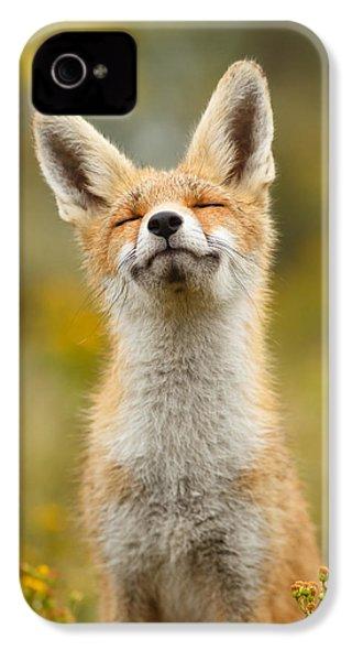 Happy Fox IPhone 4 / 4s Case by Roeselien Raimond