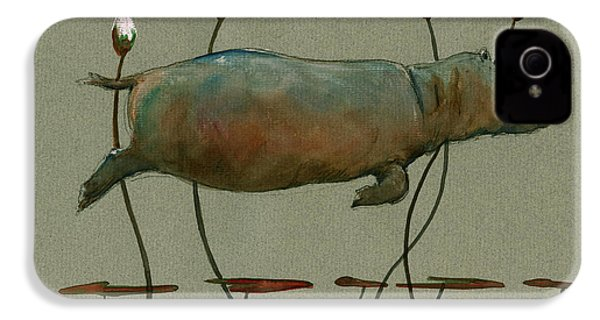Happy Hippo Swimming IPhone 4 / 4s Case by Juan  Bosco