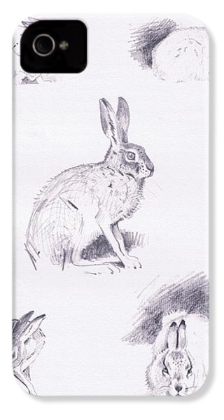 Hare Studies IPhone 4 Case by Archibald Thorburn