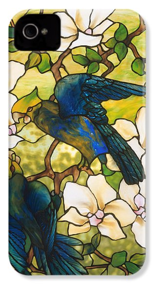 Hibiscus And Parrots IPhone 4 Case by Louis Comfort Tiffany