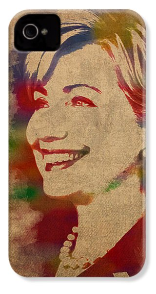 Hillary Rodham Clinton Watercolor Portrait IPhone 4 Case by Design Turnpike
