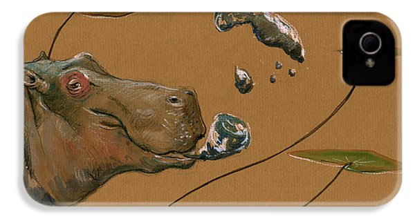 Hippo Bubbles IPhone 4 / 4s Case by Juan  Bosco