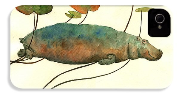 Hippo Swimming With Water Lilies IPhone 4 Case by Juan  Bosco