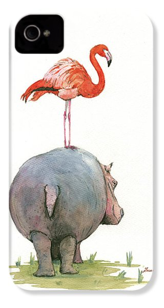 Hippo With Flamingo IPhone 4 / 4s Case by Juan Bosco