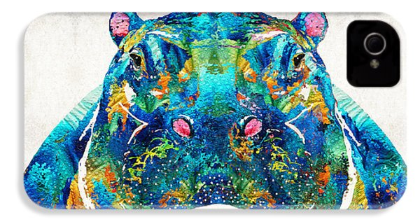 Hippopotamus Art - Happy Hippo - By Sharon Cummings IPhone 4 / 4s Case by Sharon Cummings