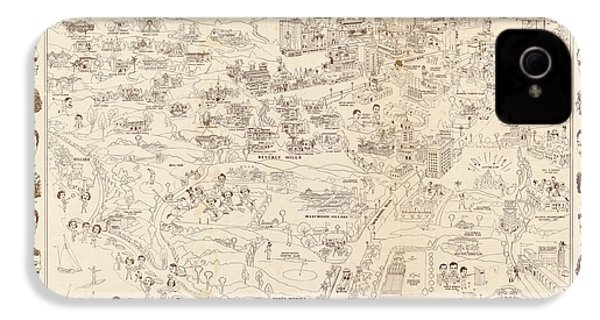 Hollywood Map To The Stars 1937 IPhone 4 Case by Don Boggs