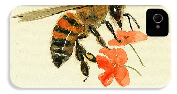 Honey Bee Watercolor Painting IPhone 4 Case