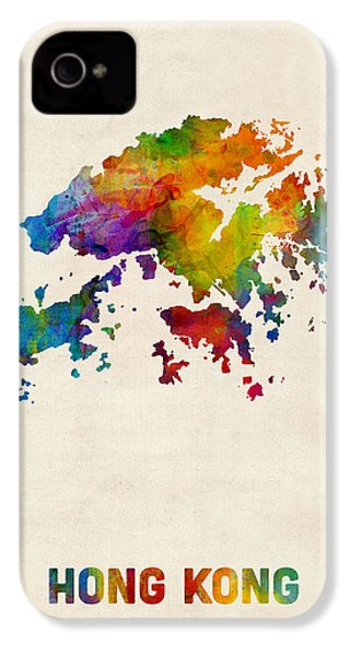 Hong Kong Watercolor Map IPhone 4 / 4s Case by Michael Tompsett