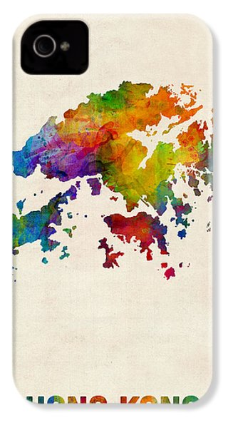 Hong Kong Watercolor Map IPhone 4 Case