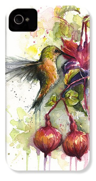 Hummingbird And Fuchsia IPhone 4 / 4s Case by Olga Shvartsur
