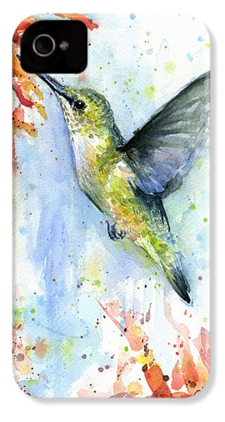 Hummingbird And Red Flower Watercolor IPhone 4 / 4s Case by Olga Shvartsur