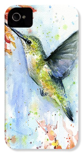 Hummingbird And Red Flower Watercolor IPhone 4 Case by Olga Shvartsur