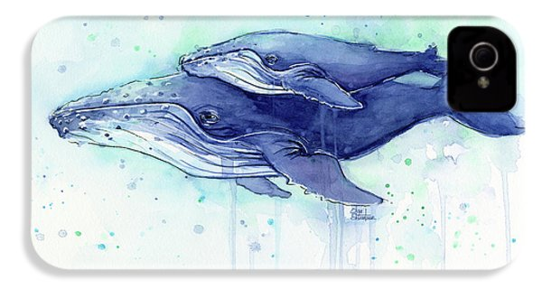 Humpback Whale Mom And Baby Watercolor IPhone 4 Case
