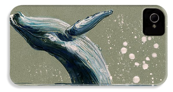 Humpback Whale Swimming IPhone 4 Case by Juan  Bosco