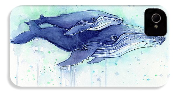 Humpback Whales Mom And Baby Watercolor Painting - Facing Right IPhone 4 Case