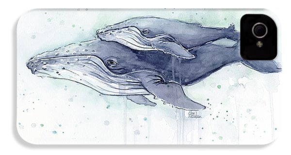 Humpback Whales Painting Watercolor - Grayish Version IPhone 4 Case