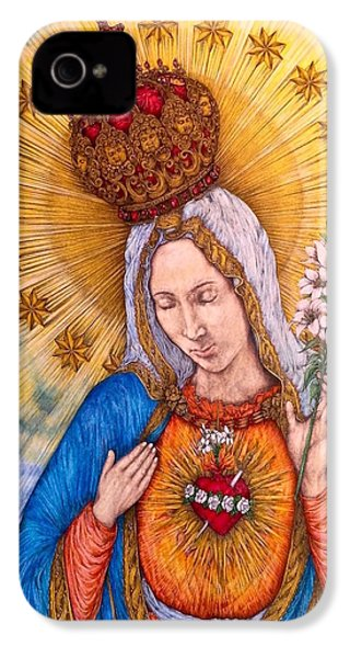 Immaculate Heart Of Virgin Mary IPhone 4 Case by Kent Chua