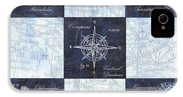Indigo Nautical Collage IPhone 4 / 4s Case by Debbie DeWitt