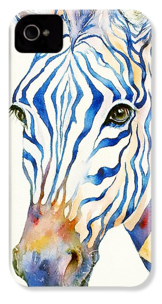 Intense Blue Zebra IPhone 4 Case by Arti Chauhan