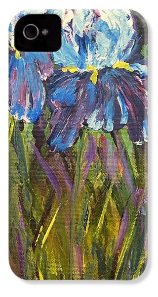 IPhone 4 Case featuring the painting Iris Floral Garden by Claire Bull