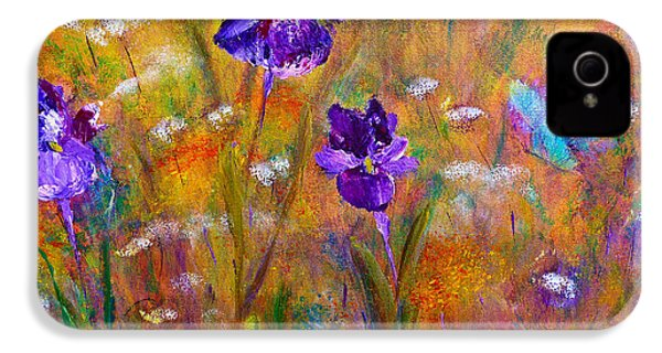 IPhone 4 Case featuring the painting Iris Wildflowers And Butterfly by Claire Bull