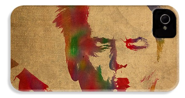 Jack Nicholson Smoking A Cigar Blowing Smoke Ring Watercolor Portrait On Old Canvas IPhone 4 Case by Design Turnpike