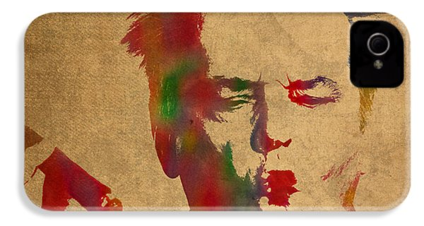 Jack Nicholson Smoking A Cigar Blowing Smoke Ring Watercolor Portrait On Old Canvas IPhone 4 Case