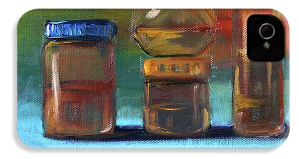 IPhone 4 Case featuring the painting Jars Still Life Painting by Nancy Merkle