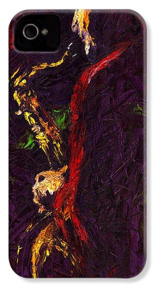 Jazz Red Saxophonist IPhone 4 / 4s Case by Yuriy  Shevchuk