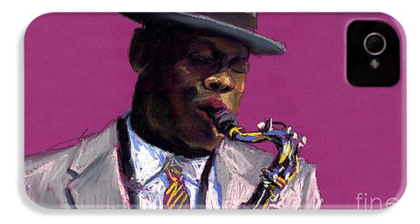 Jazz Saxophonist IPhone 4 Case by Yuriy  Shevchuk